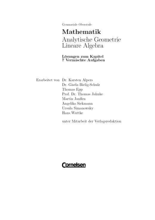Lösungen zu den vermischten Aufgaben (Analytische geometrie/Lineare Algebra NRW) - Lösungen - Webshop-Download