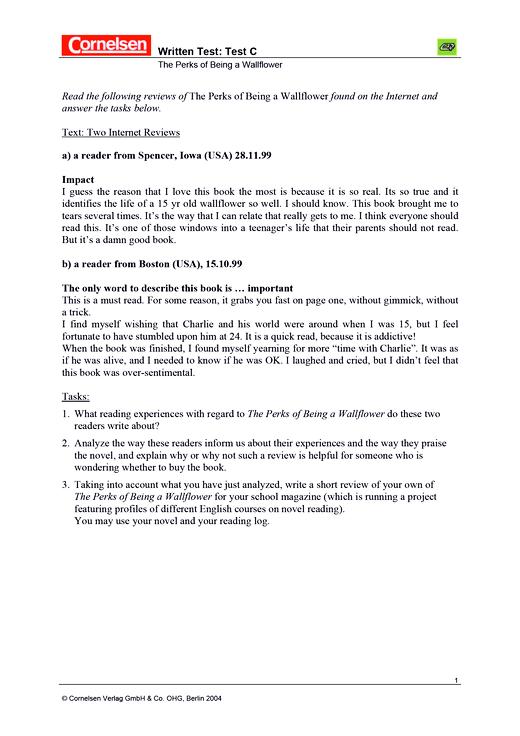 """Cornelsen Senior English Library - Textarbeit: """"The Perks of Being a Wallflower"""" - Leistungsmessung, Test, Prüfung - zu Lehrwerken - Webshop-Download"""