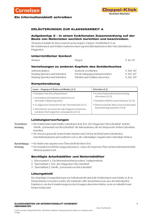 """Doppel-Klick - Ein Informationsblatt schreiben oder überarbeiten """"Otto Lilienthal"""" - Leistungsmessung, Test, Prüfung - zu Lehrwerken - 7. Schuljahr"""