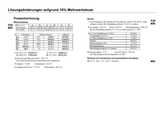 Lernstufen Mathematik - Lösungsänderungen aufgrund 19% Mehrwertsteuer - Lösungen - 7. Jahrgangsstufe