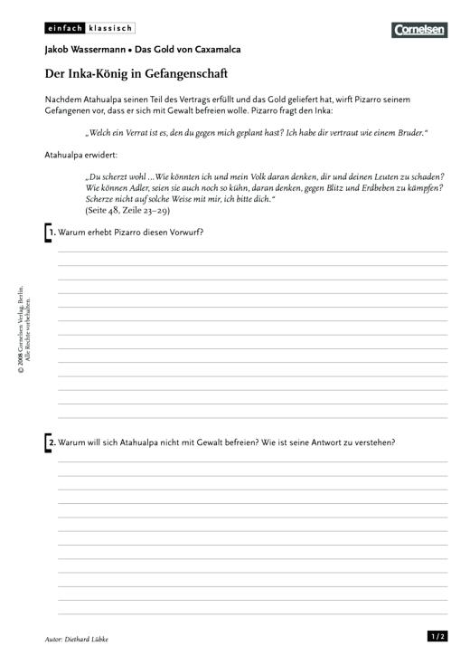 Einfach klassisch - Einfach klassisch: Das Gold von Caxamalca - Der Inka-König in Gefangenschaft - Arbeitsblatt - Webshop-Download