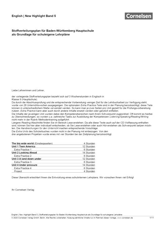 New Highlight - Stoffverteilungsplan NewHighlight 5, Baden-Württemberg Hauptschule - Stoffverteilungsplan - Band 5: 9. Schuljahr