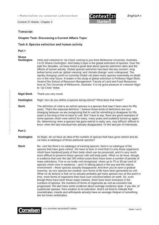 Transkript zu Task 4: Species extinction and human activity - Transkript - Webshop-Download