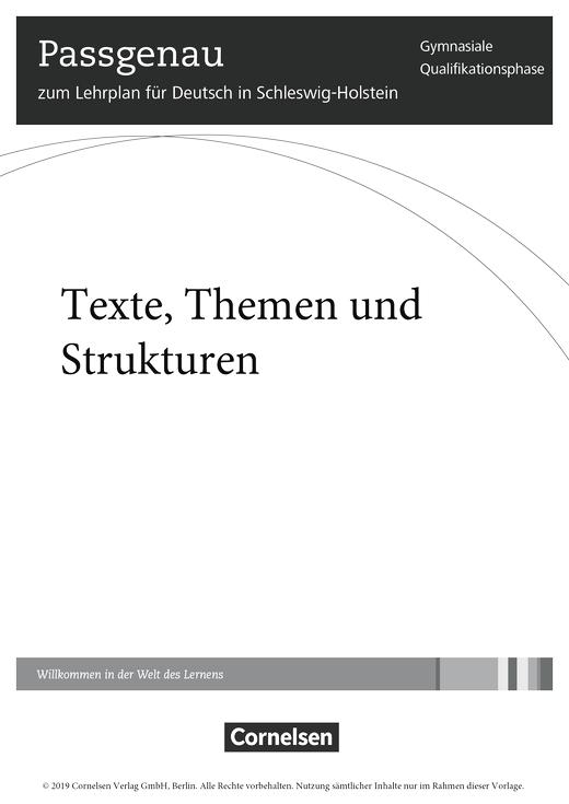 Texte, Themen und Strukturen - Stoffverteilungsplan für Schleswig-Holstein