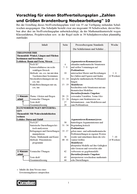 """Zahlen und Größen - Stoffverteilungsplan """"Zahlen und Größen Brandenburg"""" Neubearbeitung - Stoffverteilungsplan - 10. Schuljahr"""