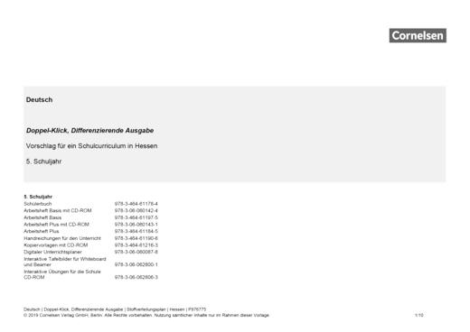 Doppel-Klick - Doppel-Klick Differenzierende Ausgabe 5 / Jahresplaner für Hessen - Stoffverteilungsplan - 5. Schuljahr