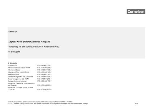 Doppel-Klick - Doppel-Klick Differenzierende Ausgabe 6 / Jahresplaner für Rheinland-Pfalz - Stoffverteilungsplan - 6. Schuljahr