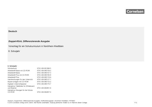 Doppel-Klick - Doppel-Klick Differenzierende Ausgabe 6 / Jahresplaner für Nordrhein-Westfalen - Stoffverteilungsplan - 6. Schuljahr