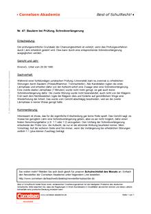 Baulärm bei Prüfung, Schreibverlängerung - Schulrechtsfall