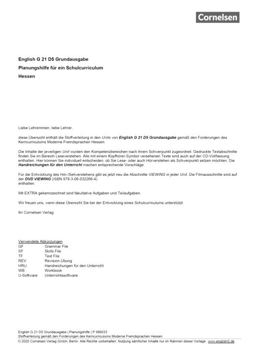 English G 21 - Planungshilfe Hessen - Band 5: 9. Schuljahr