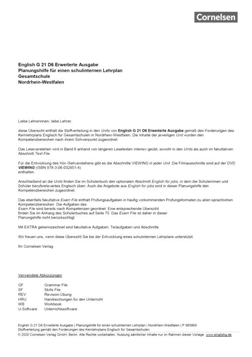 English G 21 - Planungshilfe für Nordrhein-Westfalen - Band 6: 10. Schuljahr