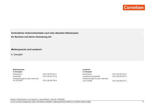 Muttersprache - Synopse für Sachsen und seine Umsetzung in Muttersprache und Lesebuch Band 6 - Synopse - 6. Schuljahr