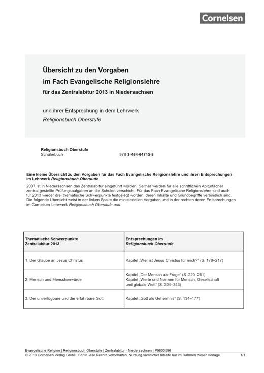Synopse Zentralabitur Niedersachsen 2013 - Synopse