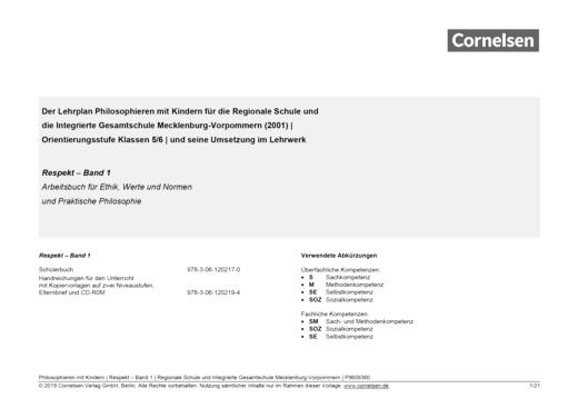 Synopse zu: Respekt, Band 1 (Mecklenburg-Vorpommern) - Synopse