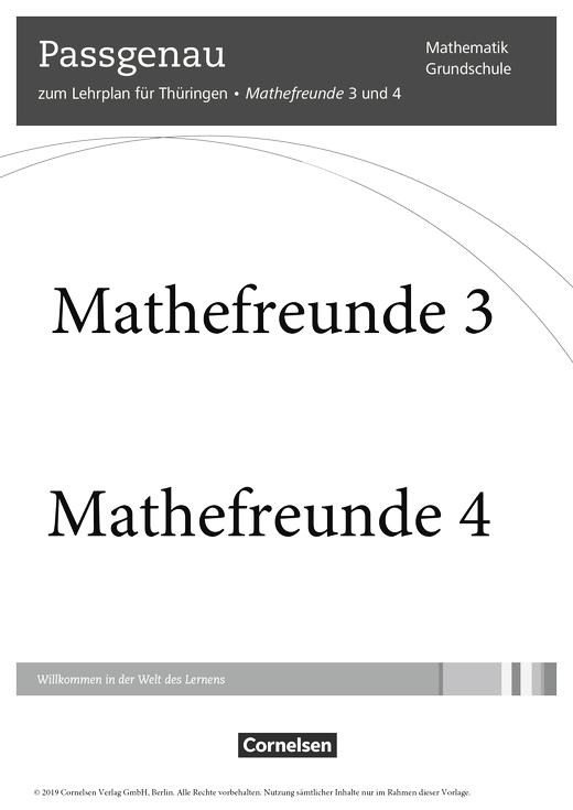Mathefreunde - Synopse für Thüringen - 3./4. Schuljahr