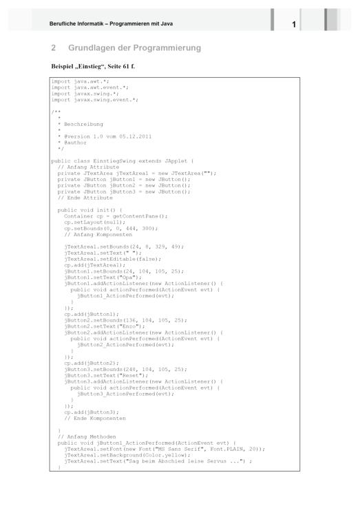 Berufliche Informatik - Berufliche Informatik Java - Quelltext zum Beispiel Kapitel 2 - Lösungen