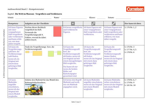 Mathewerkstatt - Kompetenzraster Mathewerkstatt 2 - Kompetenzverteilung - Band 2
