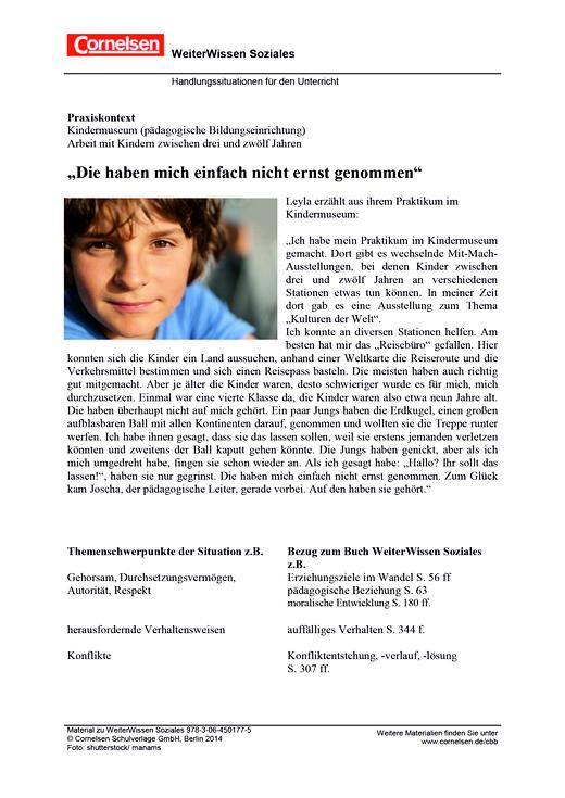 Handlungssituation zu Weiterwissen Soziales: Kindermuseum - Onlinematerial - Webshop-Download