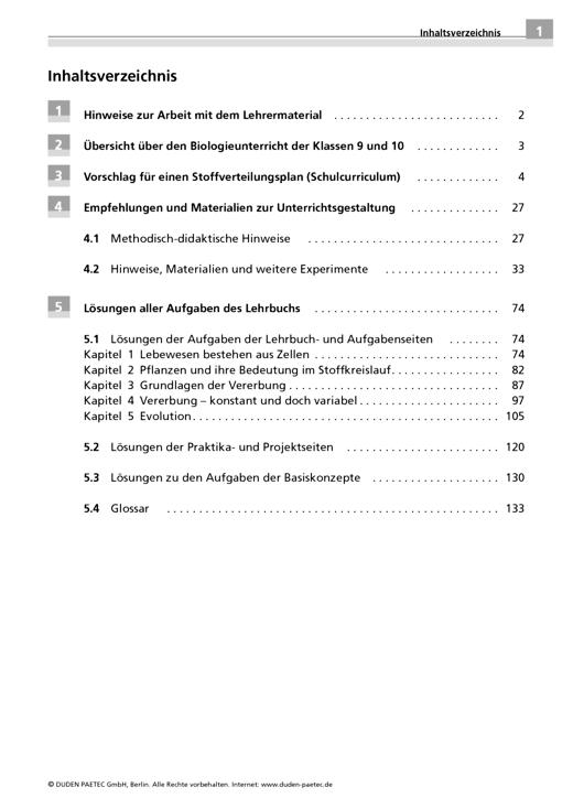 """Lehrermaterial """" Biologie 9/10"""", Gymnasium Brandenburg als Download - Handreichung - Webshop-Download"""