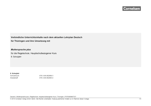 Muttersprache plus - Synopse für Thüringen - Hauptschulbezogener Kurs - 9. Schuljahr