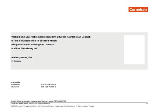 Muttersprache plus - Sekundarschule - Hauptschulbezogener Kurs - Synopse für Sachsen-Anhalt - 9. Schuljahr