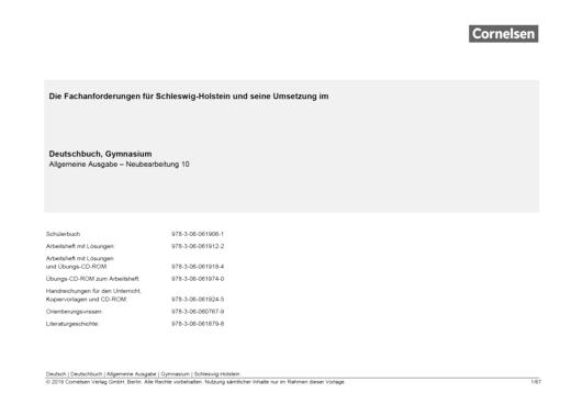 Deutschzeit - Synopse Deutschbuch 10, Gymnasium Schleswig-Holstein - Synopse - Webshop-Download