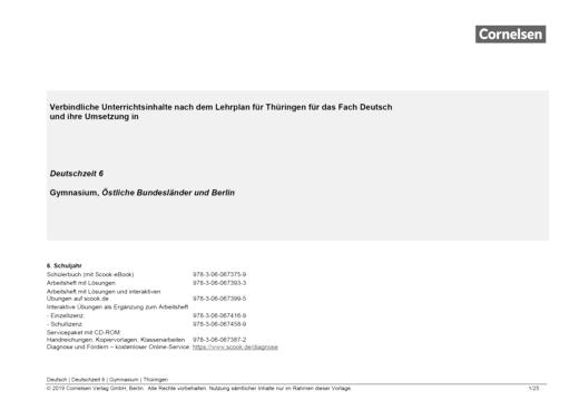 Deutschzeit - Synopse Thüringen, Deutschzeit 6 - Synopse - 6. Schuljahr