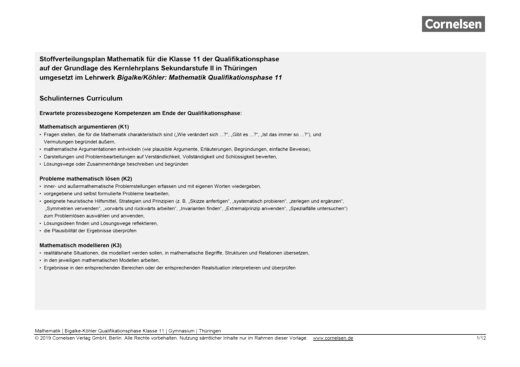 Bigalke/Köhler: Mathematik - Stoffverteilungsplan: Bigalke/Köhler Mathematik Thüringen - Qualifikationsphase 11 - Stoffverteilungsplan - 11. Schuljahr