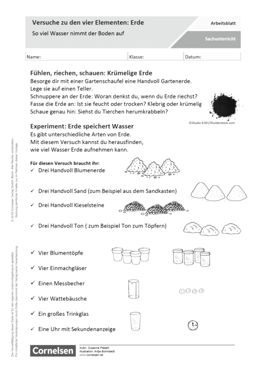Versuche zu den vier Elementen: Erde - Arbeitsblatt