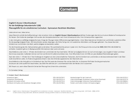 English G Access - Synopse für Nordrhein-Westfalen - Abschlussband 5: 9. Schuljahr