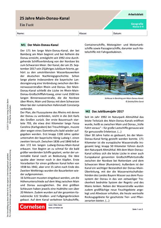 25 Jahre Main-Donau-Kanal – ein Fazit - Arbeitsblatt - Webshop-Download