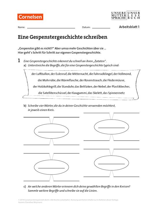 Unsere Muttersprache - Eine Gespenstergeschichte schreiben - Arbeitsblatt - 6. Schuljahr