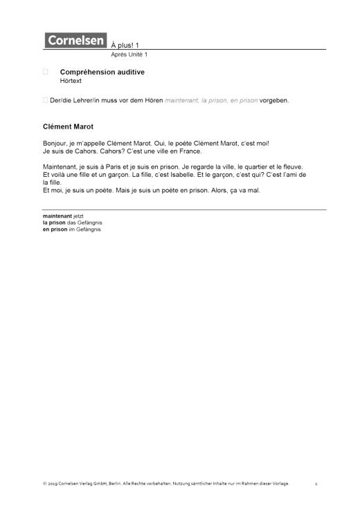 À plus ! - Unité 2, Klassenarbeit 1, Hörtext - Leistungsmessung, Test, Prüfung - Band 1