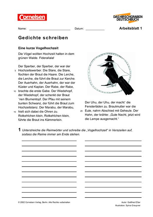 Gedichte Schreiben Arbeitsblatt Webshop Download