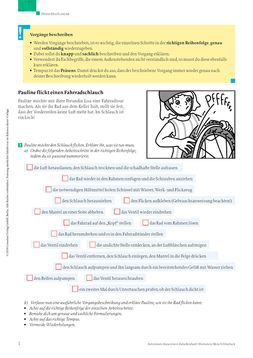 Vorgänge beschreiben: Fahrradreparatur - Arbeitsblatt - Webshop-Download