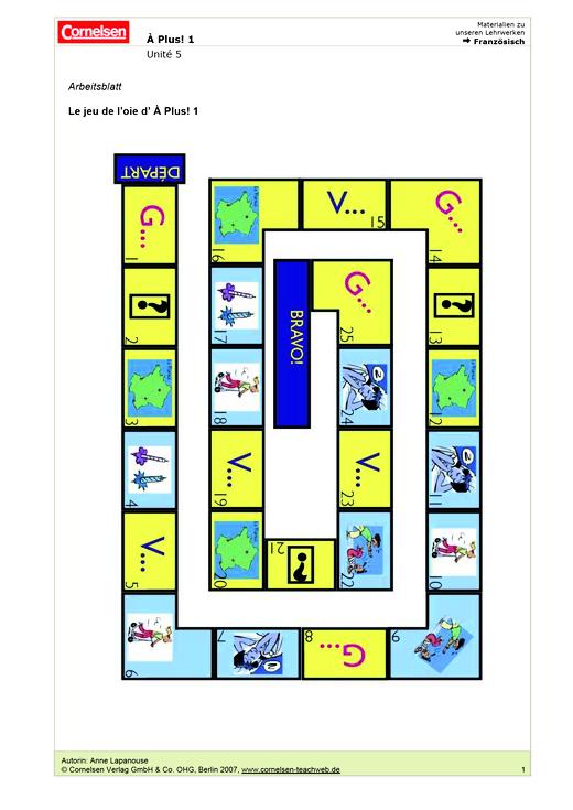 À plus ! 1, Unité 5: Le jeu de l'oie d' À plus ! 1 - Spiel - Webshop-Download