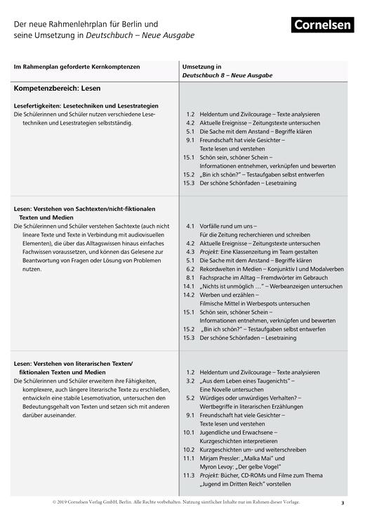 Deutschbuch Gymnasium - Stoffverteilungsplan für Berlin - 8. Schuljahr