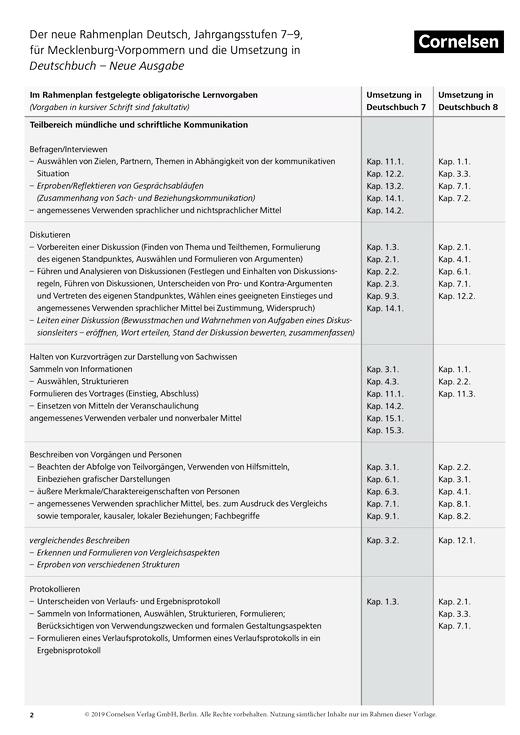 Deutschbuch Gymnasium - Synopse zum neuen Rahmenlehrplan für Mecklenburg-Vorpommern Band 7-9 - Stoffverteilungsplan
