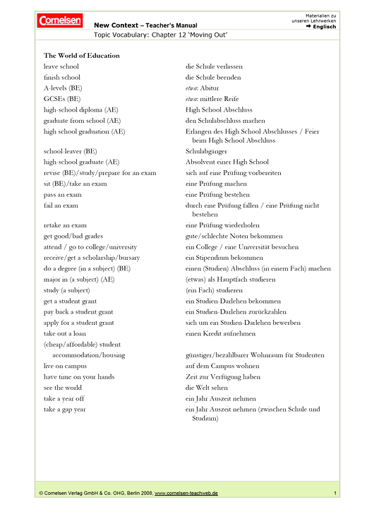 Moving Out – Topic Vocabulary (zum Lehrwerk New Context, Ausgabe B) - Topic Vocabulary & dt. Übersetzungen - Webshop-Download