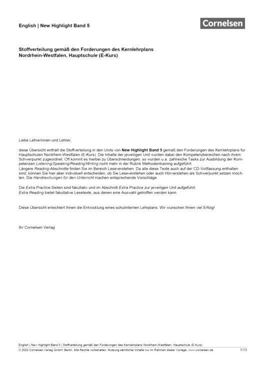 New Highlight - Stoffverteilungsplan New Highlight 5, E-Kurs NRW - Stoffverteilungsplan - Band 5: 9. Schuljahr