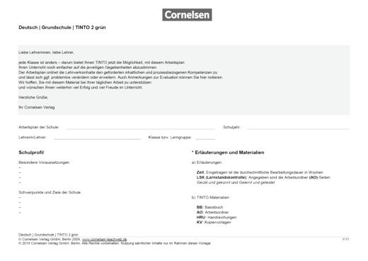 Arbeitsplan für Tinto 2 grün - Didaktische Fachinfo - Webshop-Download