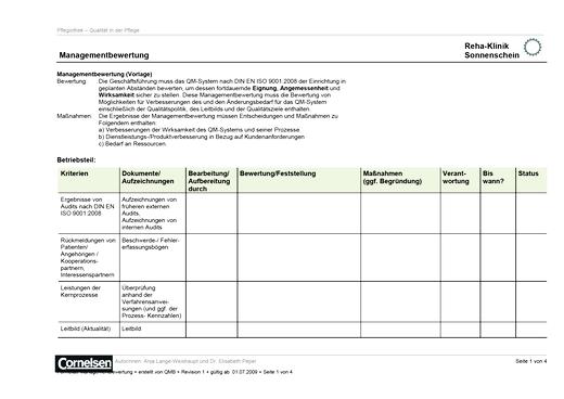 Formblatt Managementbewertung - Dokumentenbeispiel für Qualität in der Pflege - Webshop-Download