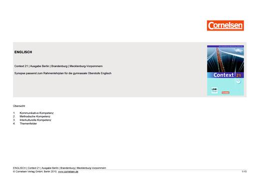 Context 21 - Context 21 | Planungshilfe für ein schulinternes Curriculum (Gymnasium Berlin / Brandenburg / Mecklenburg-Vorpommern) - Synopse - Webshop-Download