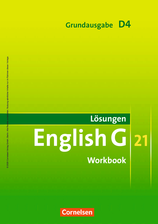 English G 21 - Lösungen zum English G 21-Workbook D4 GA - Workbook-Material - Band 4: 8. Schuljahr