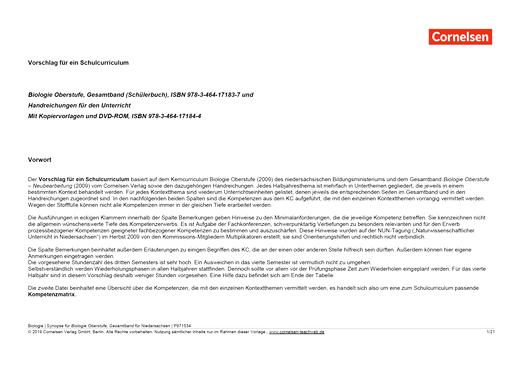Biologie Oberstufe - Vorschlag für ein Schulcurriculum - Stoffverteilungsplan für Niedersachsen - Gesamtband Oberstufe