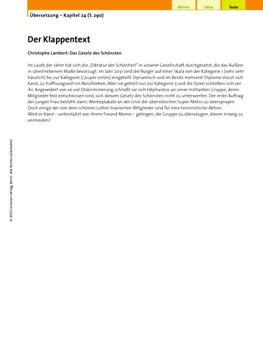 Übersetzung (24.7 Der Klappentext 2, Christophe Lambert) - Arbeitsblatt