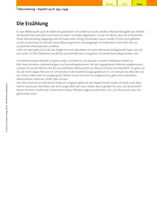 Übersetzung (24.9 Die Erzählung) - Arbeitsblatt