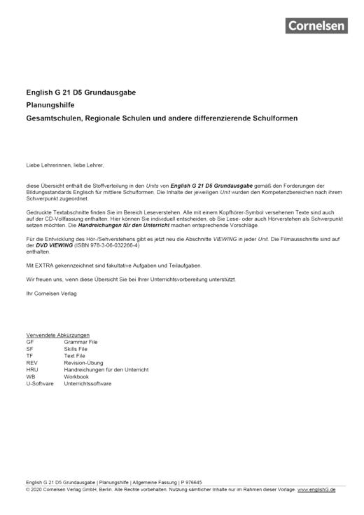 English G 21 - English G 21 D5 Grundausgabe | Planungshilfe (Gesamtschulen, Regionale Schulen und andere differenzierende Schulformen) - Planungshilfe - Webshop-Download