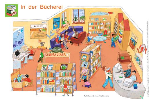 Schaubild: In der Bücherei - Schaubild - Webshop-Download