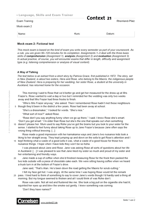 Mock exam 2 - Leistungsmessung, Test, Prüfung - zu Lehrwerken - Webshop-Download